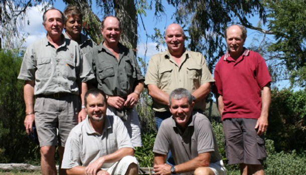 Members of the XT-Nucleus stud; L/R standing— Reid Wardle, Char-lie Shone, John Gary Wardle (Manager), Gerrie Odendaal (Chairman),Duppie Kru-ger; Sitting in front—Mike Wardle, Gary Trethewey (BKB).